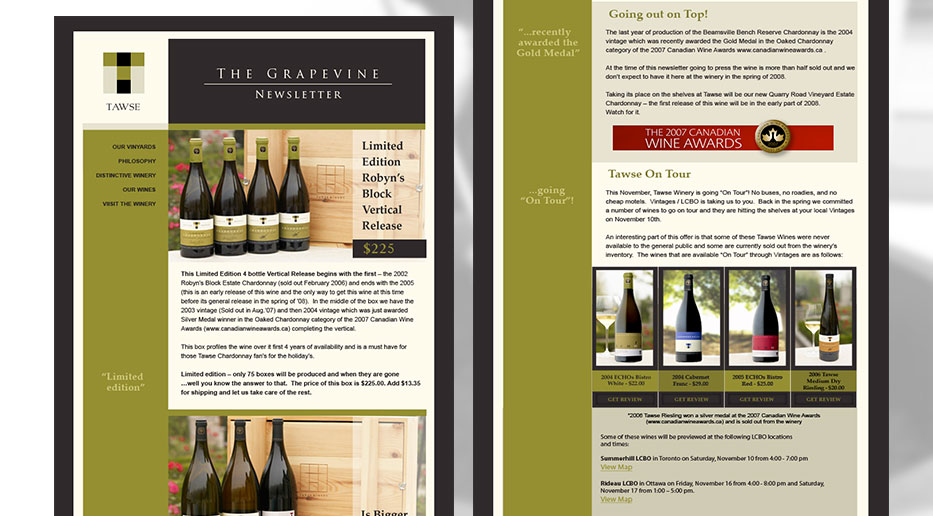 Tawse Winery – Newsletter